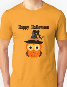Halloween owl with witch hat square geek funny nerd T-Shirt