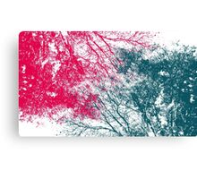 Abstract interwoven tree branches (pink and green) Canvas Print