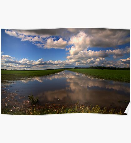 Rural Field Reflection Poster