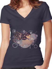 Music Girl 2 Women's Fitted V-Neck T-Shirt