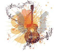 Music Poster with Guitar 5 Photographic Print