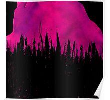 Pink Paint Brushstroke Drips on Black Poster