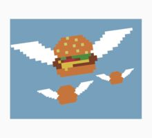 """Food Flight"" 8 bit Burger Pixel One Piece - Long Sleeve"