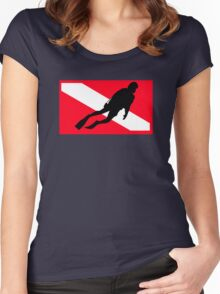 Scuba Diver Down Flag Women's Fitted Scoop T-Shirt