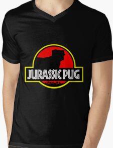 Jurassic Pug Mens V-Neck T-Shirt