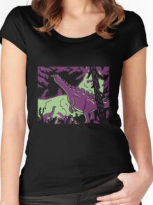 Long Necks - Green and Purple Women's Fitted Scoop T-Shirt