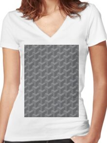 Stacked Squares Women's Fitted V-Neck T-Shirt