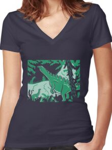 Long Necks - Blue and Green Women's Fitted V-Neck T-Shirt