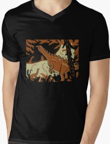 Long Necks - Tan and Orange Mens V-Neck T-Shirt