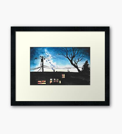 Condos at Dusk Watercolour Landscape Painting Framed Print
