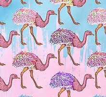 Colorful Watercolor Painted Ostrich Pattern by Blkstrawberry
