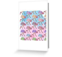 Colorful Watercolor Painted Ostrich Pattern Greeting Card
