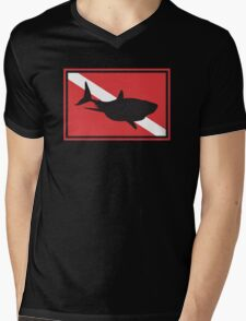 SCUBA Shark Dive Flag Mens V-Neck T-Shirt