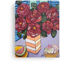 Roses and cup cake.. Canvas Print