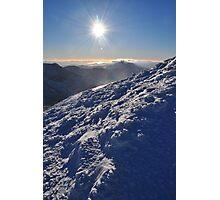 Snow and Sun high on Carrauntohil (Corrán Tuathail) Photographic Print