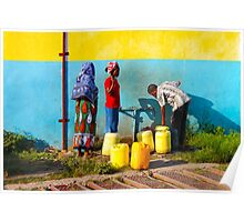 People collecting water in Nairobi, KENYA Poster