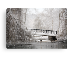 Bridge In The Snow Canvas Print