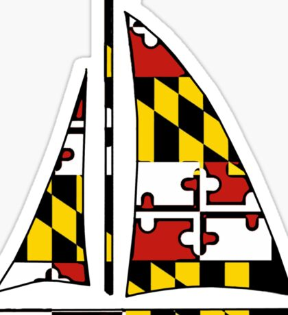 Maryland flag sailboat Sticker