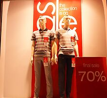 Two male mannequin in a glass case by vladromensky