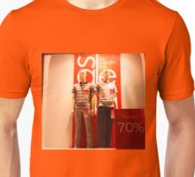 Two male mannequin in a glass case Unisex T-Shirt