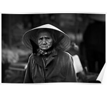 Vietnam - Portrait of elderly woman at markets in Dalat Poster