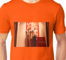 Two male mannequin in a showcase Unisex T-Shirt