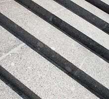 Overhead view closeup of gray marble steps by vladromensky