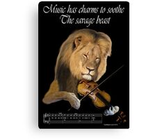 Music and the Beast: Lion and Violin Canvas Print