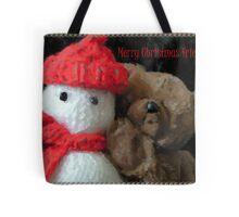 yohoo Knitted Snow...man & Teddy Bear Christmas greeting Tote Bag