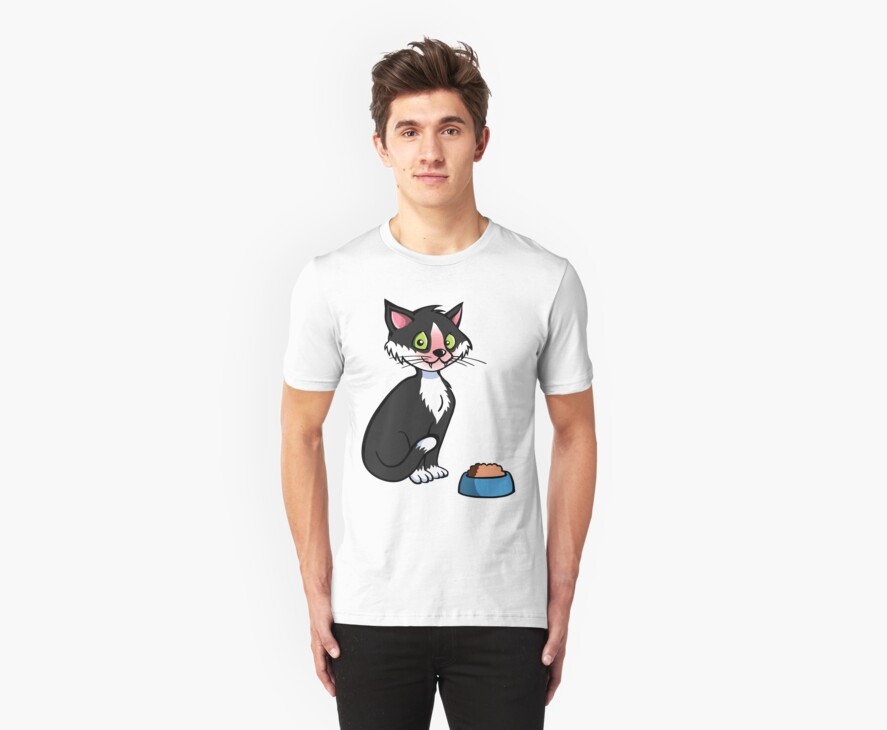 Cartoon cat with food bowl by Colin Cramm