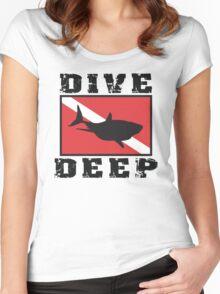 Shark SCUBA Flag Dive Deep Women's Fitted Scoop T-Shirt