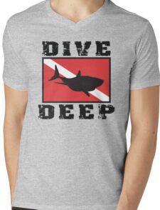 Shark SCUBA Flag Dive Deep Mens V-Neck T-Shirt