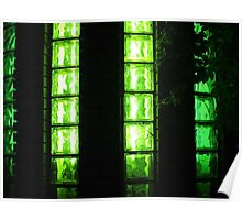 Decorative wall with green lights at night Poster