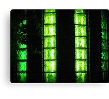 Decorative wall with green glowing at night Canvas Print