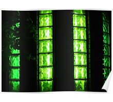 Decorative wall with green glowing at night Poster