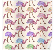 Watercolor Painted Ostrich Pattern Poster