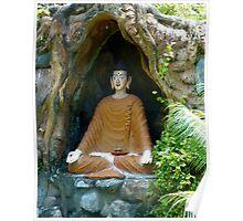 Buddha statue under root. Poster
