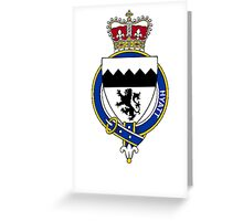 Coat of arms (family crest) for last-name or surname Hyatt (England) . Heraldry banner for your name. Greeting Card