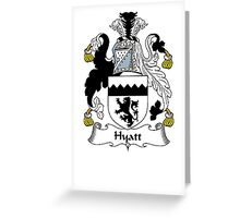 Coat of arms (family crest) for last-name or surname Hyatt . Heraldry banner for your name. Greeting Card