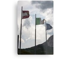 flag in the mountain Metal Print