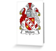 Coat of arms (family crest) for last-name or surname Ibbetson . Heraldry banner for your name. Greeting Card