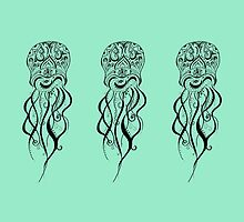 Mint Green Jellyfish Mandala by inklingsbyellie