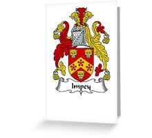 Coat of arms (family crest) for last-name or surname Impey . Heraldry banner for your name. Greeting Card