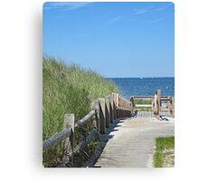 Boardwalk to the ocean beach Canvas Print