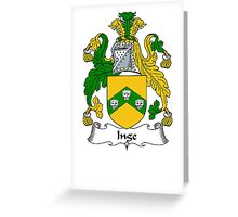 Coat of arms (family crest) for last-name or surname Inge . Heraldry banner for your name. Greeting Card