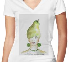 Miss Pear- growing food everywhere Women's Fitted V-Neck T-Shirt