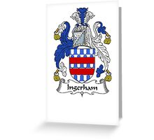 Coat of arms (family crest) for last-name or surname Ingerham . Heraldry banner for your name. Greeting Card