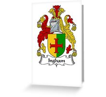 Coat of arms (family crest) for last-name or surname Ingham . Heraldry banner for your name. Greeting Card