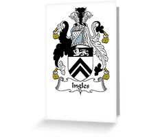 Coat of arms (family crest) for last-name or surname Ingle (s) . Heraldry banner for your name. Greeting Card