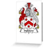 Coat of arms (family crest) for last-name or surname Ingledew . Heraldry banner for your name. Greeting Card